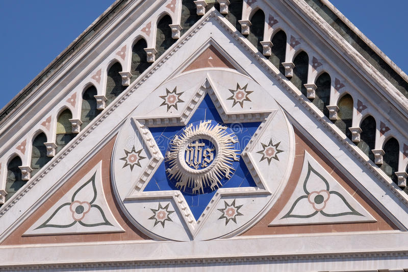 JEGO szyldowy bazyliki Di Santa Croce bazylika Święty Przecinający kościół w Florencja, Włochy fotografia stock