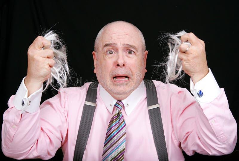 jego włosy człowieka zaskoczony wyciągnięta obraz stock