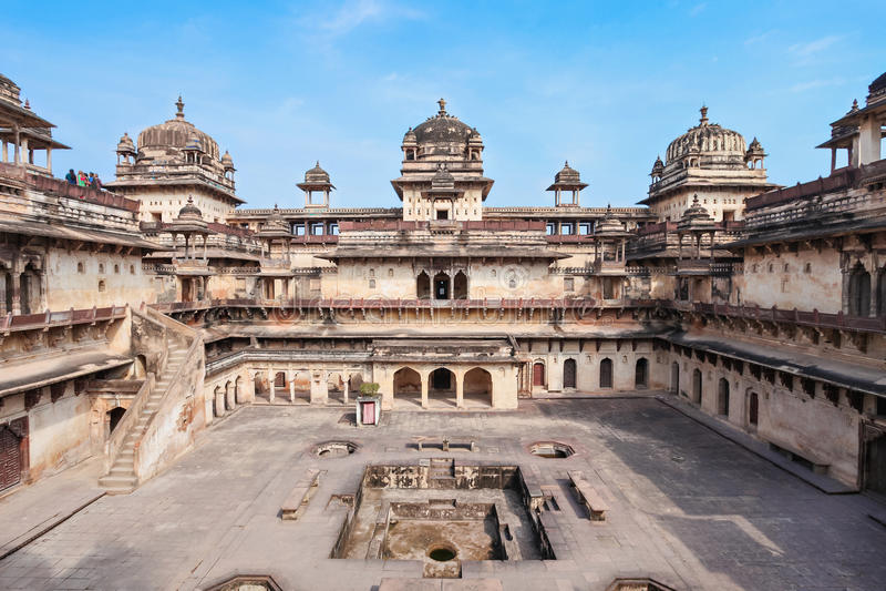 Jehangir Mahal (fortificazione di Orchha) in Orchha immagini stock libere da diritti
