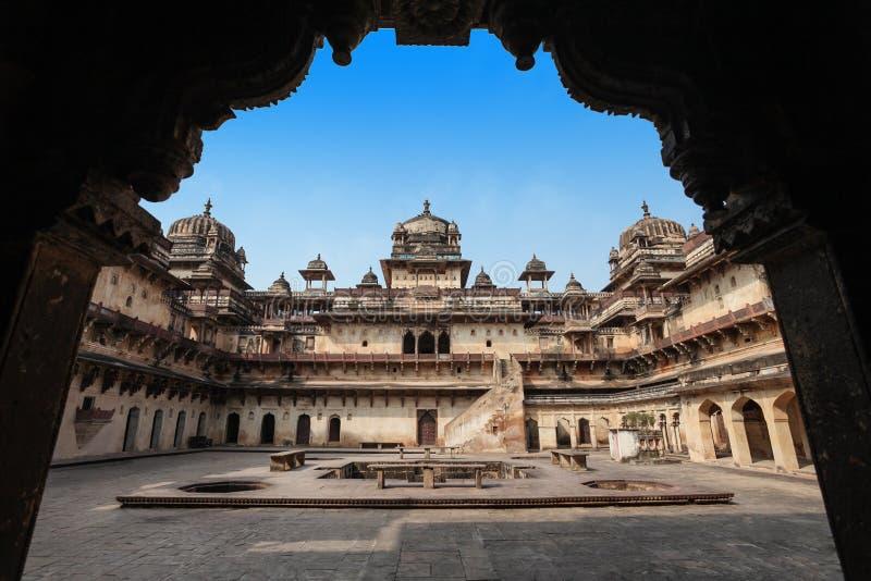 Jehangir Mahal (Orchha fort) i Orchha arkivfoton