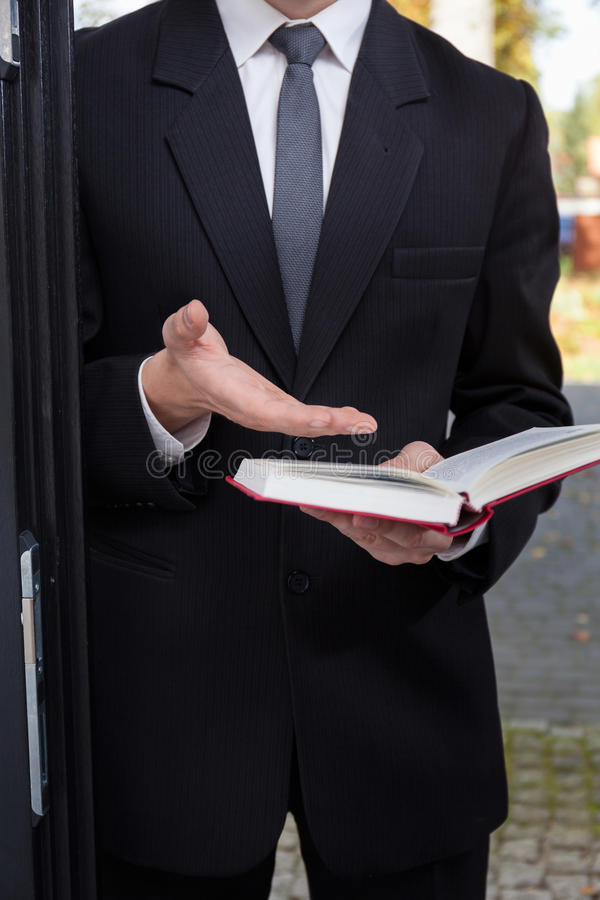 Jehovah's witness evangelizing. Vertical view of Jehovah's witness evangelizing stock images