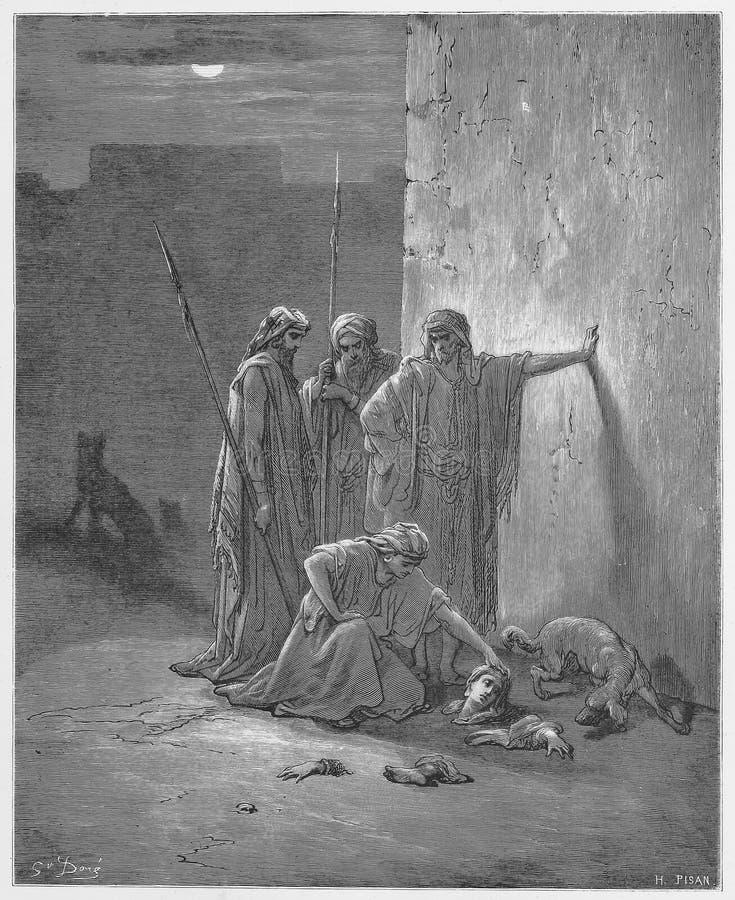 Jehus Begleiter, welche die Überreste von Jezebel finden lizenzfreie abbildung