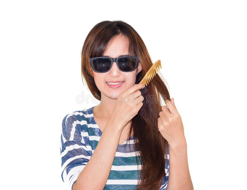 Download Jej Włosy Szczotkujący Kobieta Obraz Stock - Obraz złożonej z odosobniony, piękny: 53787501