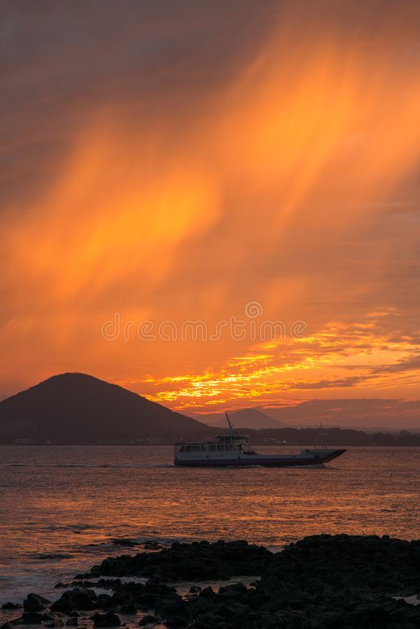 Sunset on the beach with beautiful sky, nature landscape stock photos
