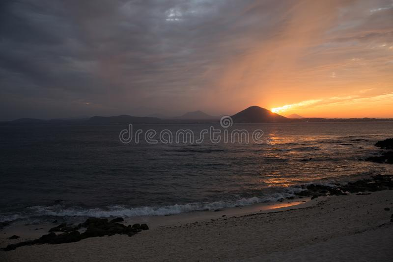 Sunset on the beach with beautiful sky, nature landscape royalty free stock images