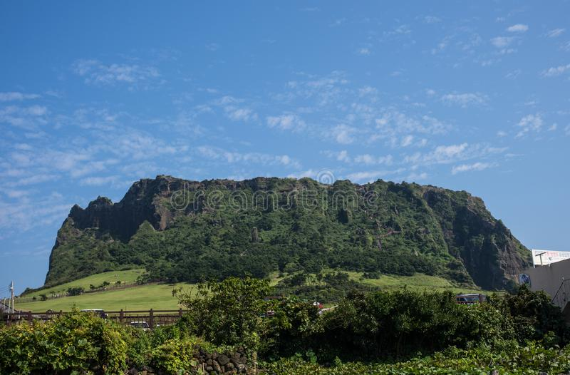 View of Seongsan Ilchulbong Volcanic Cone in JEJU ISLAND, KOREA: royalty free stock images
