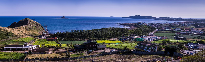 Panorama view of the Yongmeori beach at Jeju Island royalty free stock photo