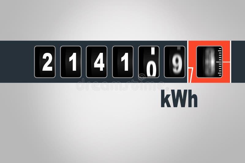 Jejua o medidor de corrida da eletricidade - conceito do consumo de potência ilustração royalty free