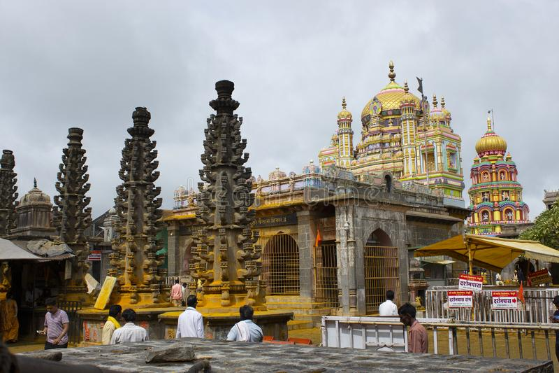 JEJURI PUNE OMRÅDE, MAHARASHTRA, Augusti 2018, fantast på den Lord Khandoba templet royaltyfria bilder