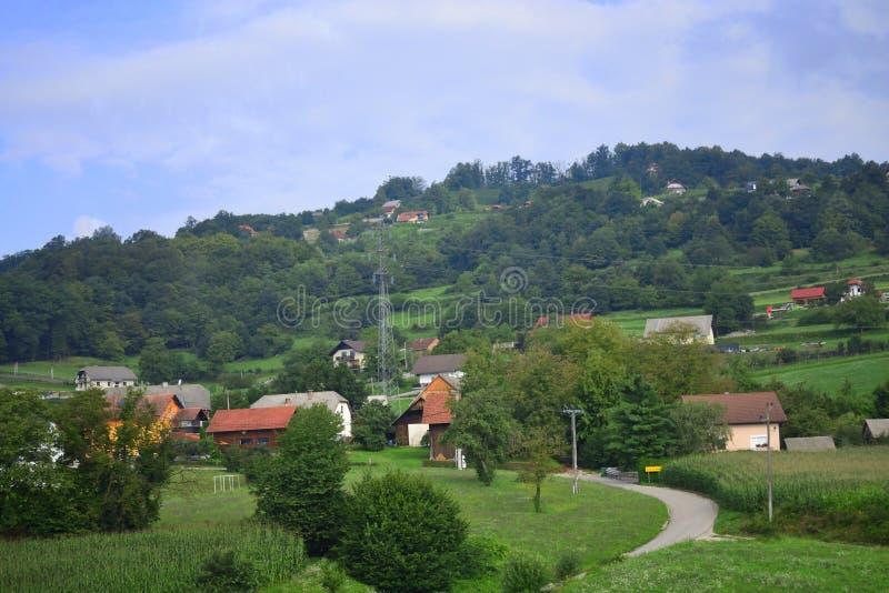 Beautiful landscape Jelše pri Otočcu village Slovenia Europe. Jelše pri Otočcu village seen from A2 motorway-Dolenjska avtocesta -E70 European Route royalty free stock images