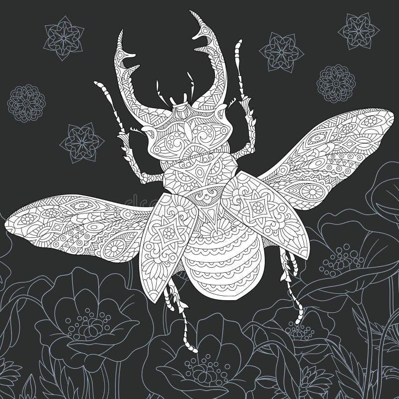 Jeleń ściga w czarny i biały stylu ilustracji