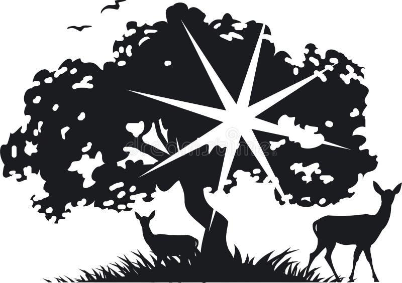 jeleni drzewo royalty ilustracja