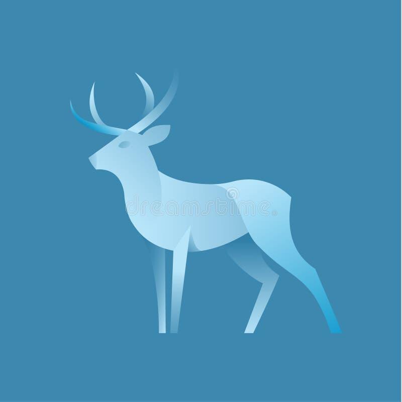 Jeleni graficzny kolor ilustraci logo dla gatunku w nowożytnym gradientowym projekcie, plastikowa forma zwierzę ilustracja wektor