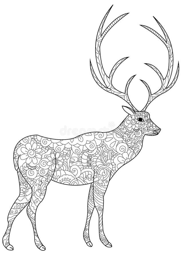 Jeleni kolorystyki książki wektor dla dorosłych royalty ilustracja