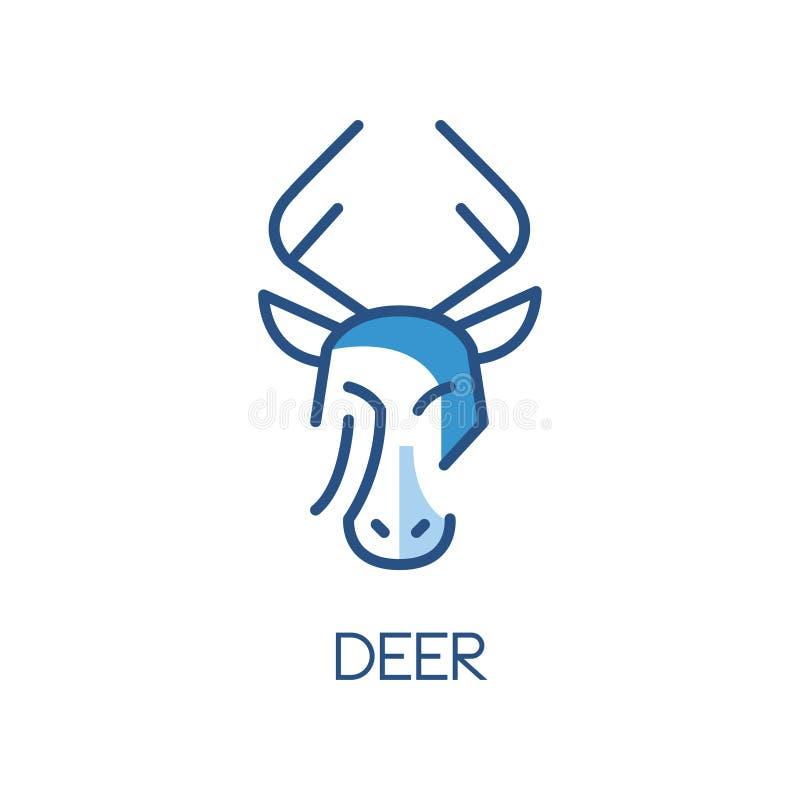 Jeleni loga projekt, błękitna etykietka, odznaka lub emblemat z głową zwierzęca wektorowa ilustracja na białym tle, ilustracji