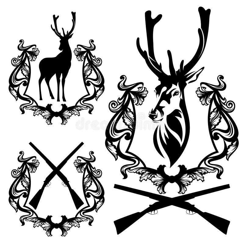 Download Jeleni polowanie set ilustracja wektor. Ilustracja złożonej z klub - 53792770