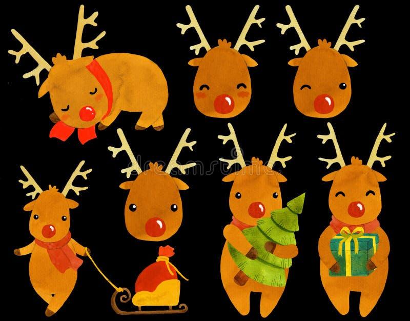 Jeleni Rudolf nowego roku wakacji ilustracji set ilustracji