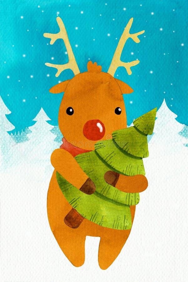 Jeleni Rudolf nowy rok z drzewem ilustracja wektor