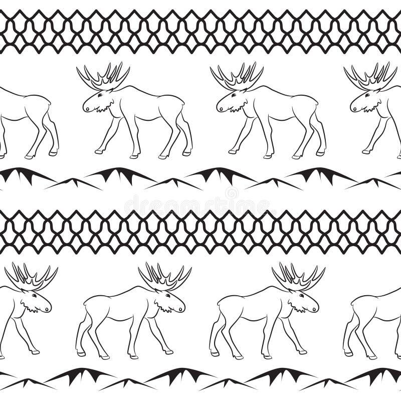 Jeleni wektorowy bezszwowy wzór Etniczny zwierzęcy temat ilustracja wektor