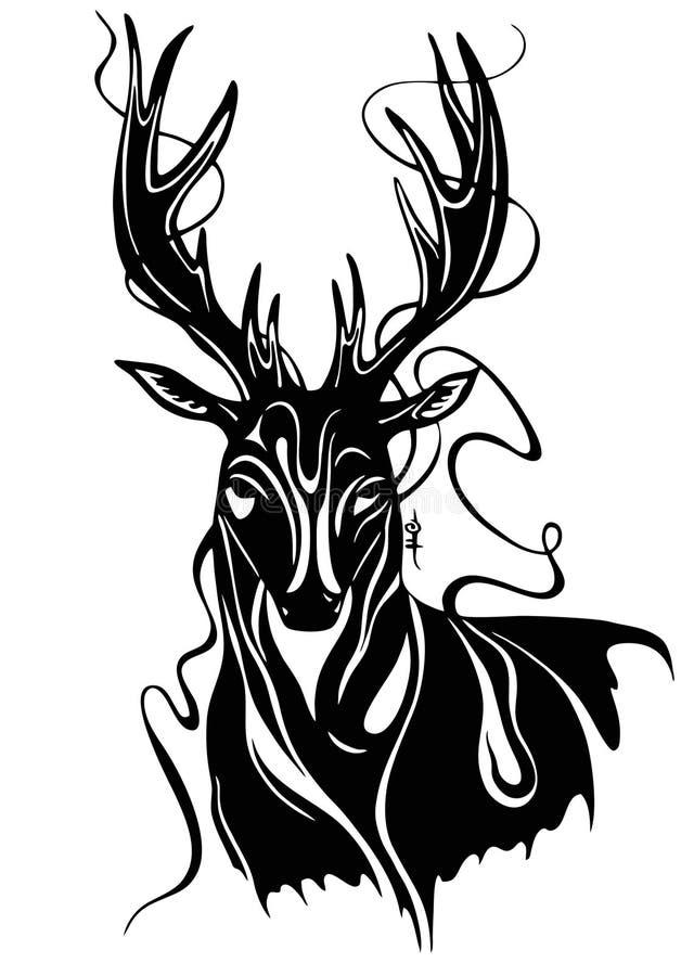 Jeleni zwierzęcy sztuki illistration czarny i biały zdjęcia royalty free