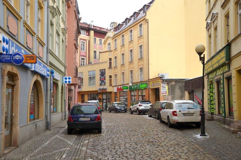 Jelenia Gora, Polonia, el 15 de diciembre de 2018: 1 calle de Maja, un Silesia más bajo, Polonia fotografía de archivo