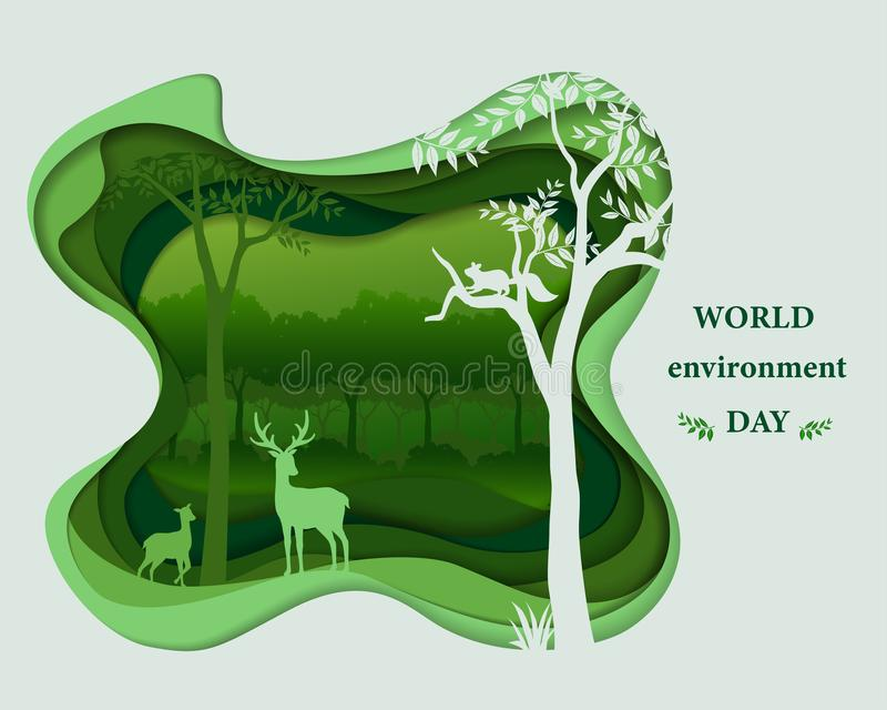 Jelenie rodzinne sylwetki w lasu krajobrazie, abstrakt sztuki papierowej sceny warstwy głęboki tło, wektorowa ilustracja royalty ilustracja