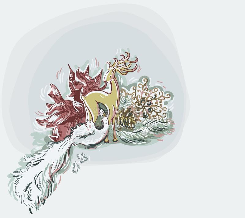 Jeleniego ptasiego zabawki kartki bożonarodzeniowej tła błękitnego wektorowego miękkiego koloru farby pastelowy styl royalty ilustracja