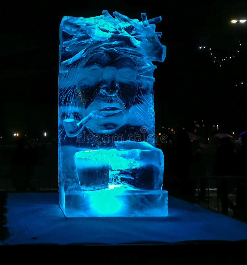 Jelgava/Λετονία - 10 Φεβρουαρίου 2017: Μικρό χαρασμένο sculptu πάγου στοκ φωτογραφίες