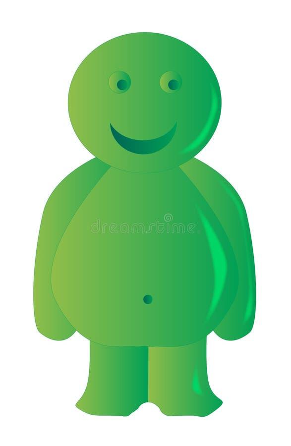 Jelly Baby verde felice illustrazione vettoriale