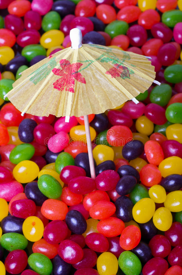 Jelly Bean Beach Portrait With Umbrella Stock Images