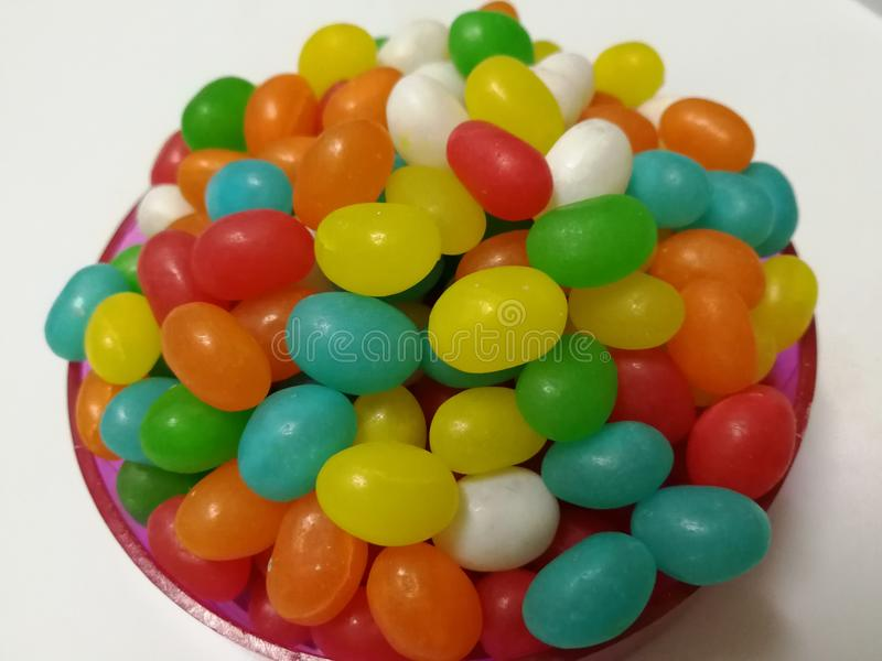 Jelly Bean. Colorful jelly bean on a plate is children favorite stock photos