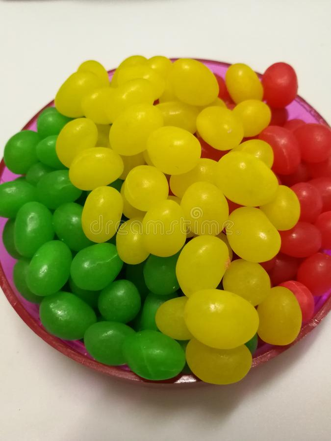 Jelly Bean. Colorful jelly bean on a plate is children favorite royalty free stock photo