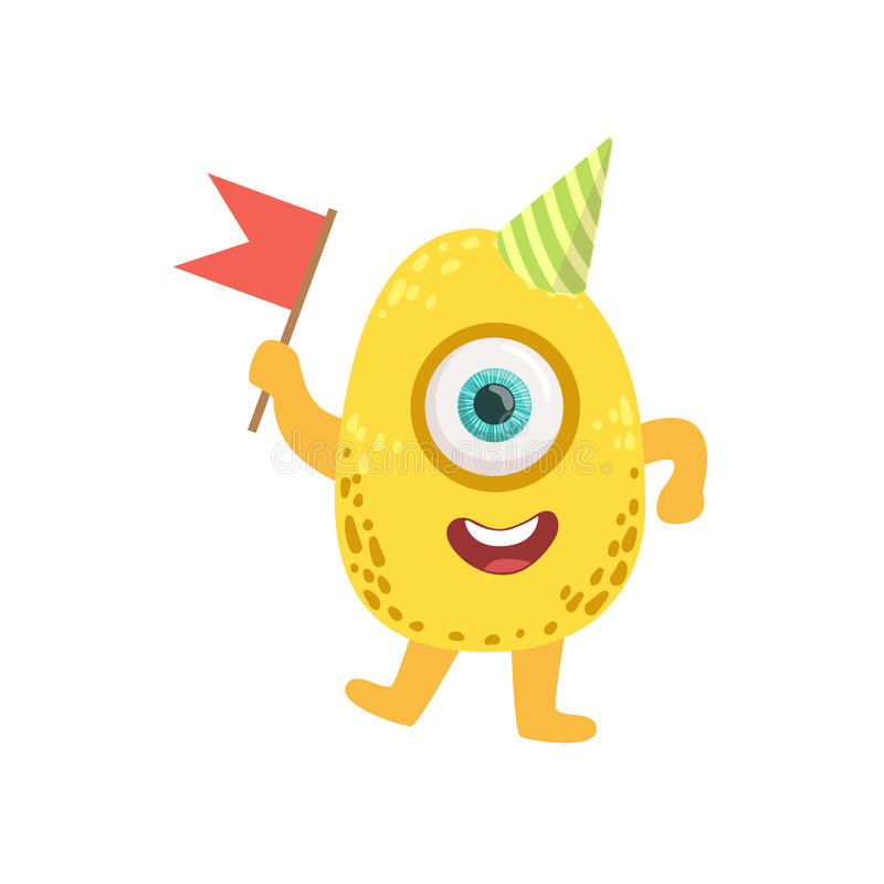 Jelly Bean Friendly Monster With Flag illustration libre de droits