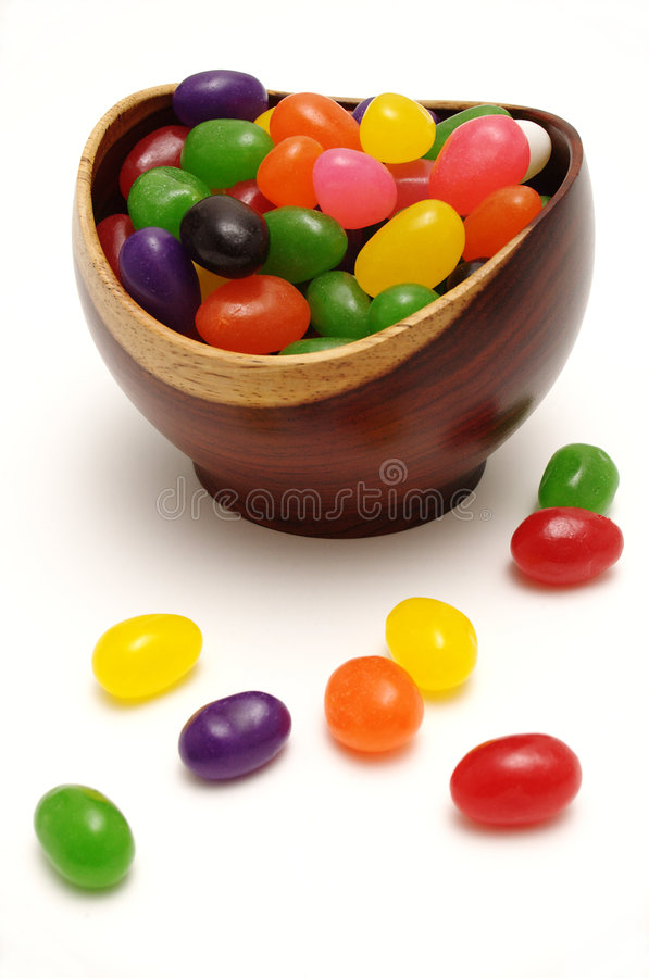 Jelly beans in rosewood bowl royalty free stock images