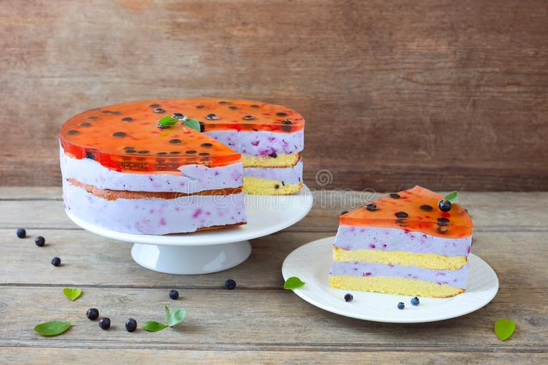 Jelly cake. Homemade blueberry jelly biscuit cake stock photos
