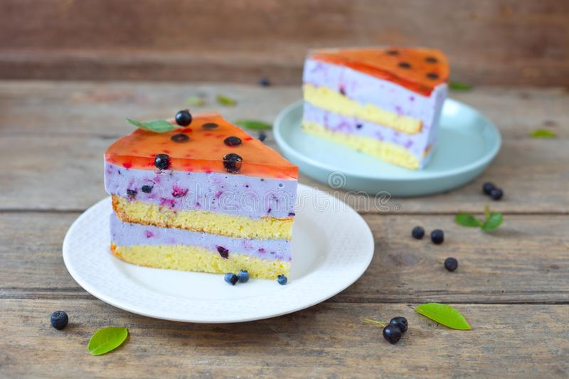 Jelly cake. Homemade blueberry jelly biscuit cake royalty free stock photography