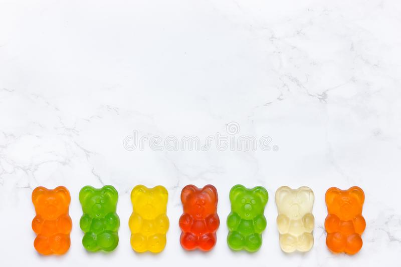 Jelly candy shaped bear , colorful sweets stock images