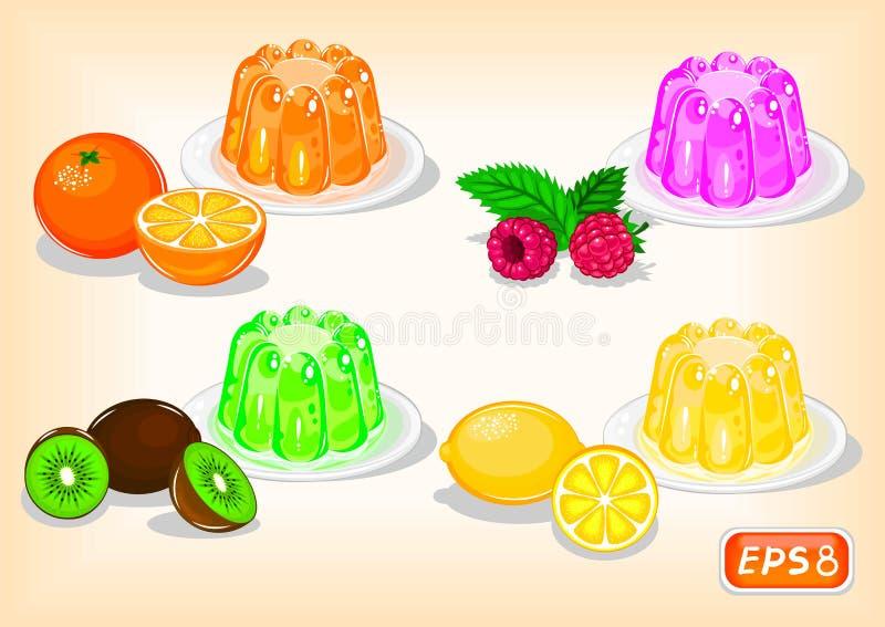 Jelly com sabores diferentes com citrinas e framboesas ilustração royalty free