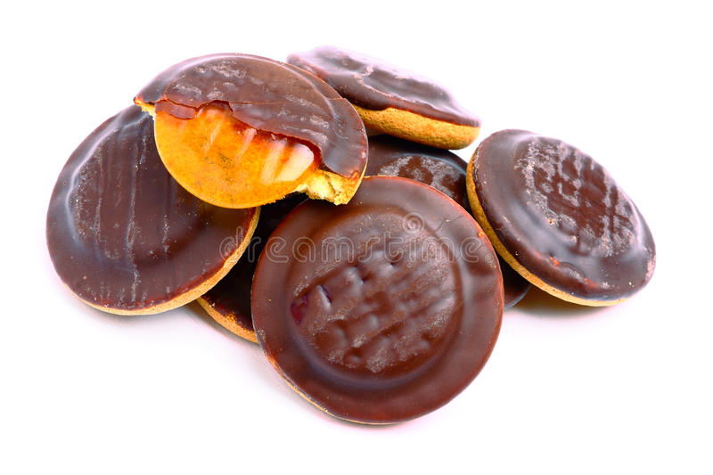 Jelly cookies. Delicious jelly cookies with chocolate glaze royalty free stock photos