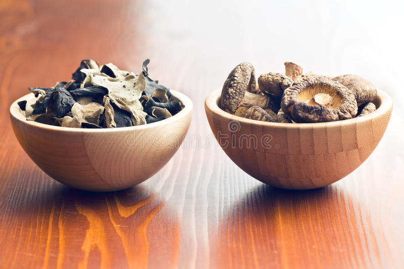 Jelly ear and shiitake mushrooms stock photography