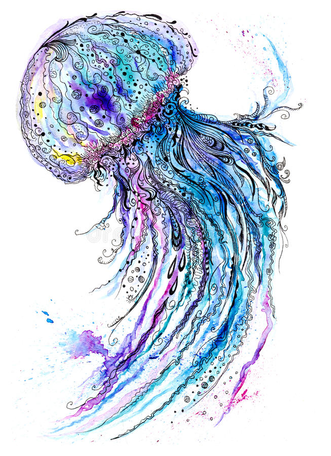 It is a photo of Astounding Jellyfish Ink Drawing