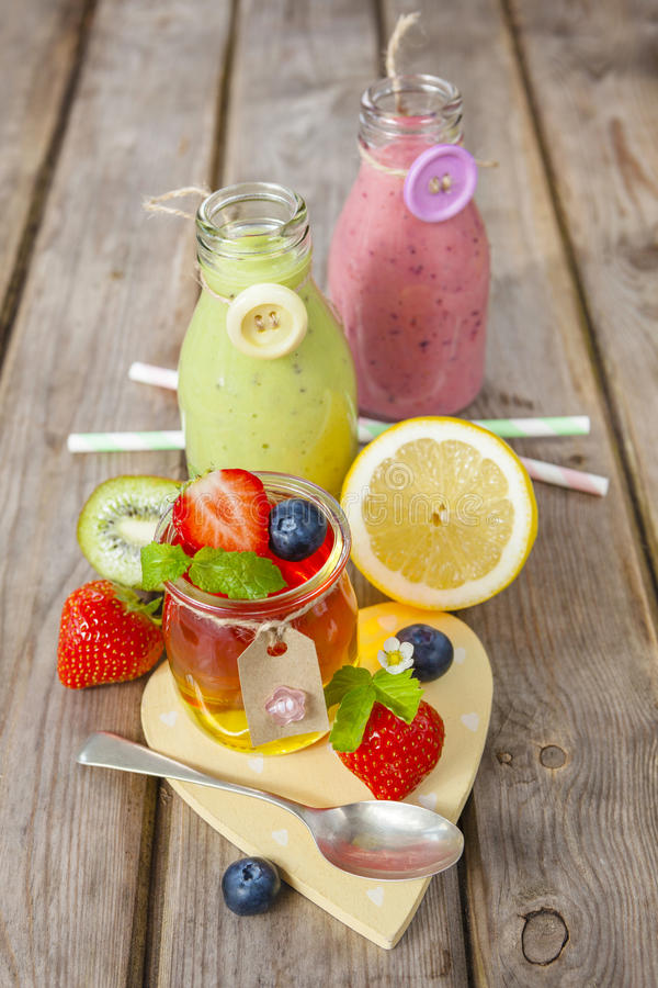 Jelly and fruit smoothie. Healthy summer treat. royalty free stock photos