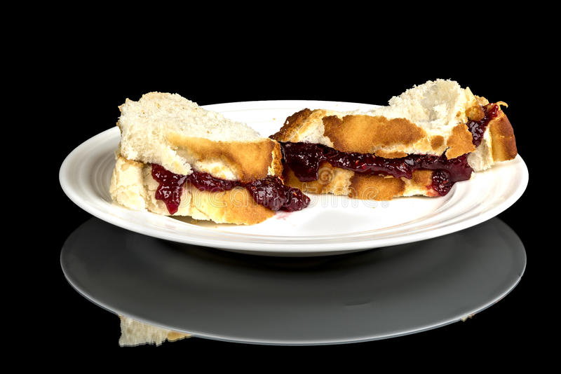 Jelly Sandwitch on a white plate close up royalty free stock photos