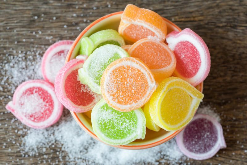 Jelly sweet, flavor fruit, candy dessert colorful in ceramic bow stock image