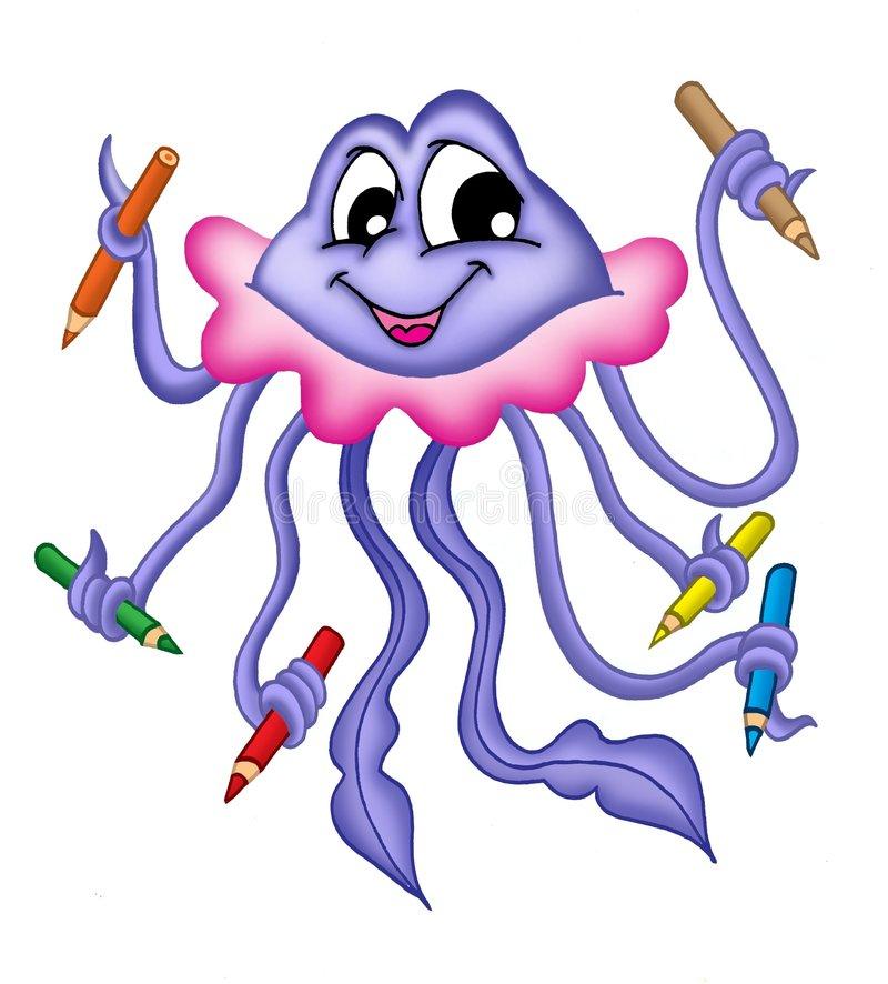 Jellyfish. Illustration of jellyfish holding color pencils in tentacles vector illustration