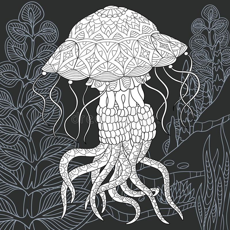 Jellyfish in black and white style royalty free illustration