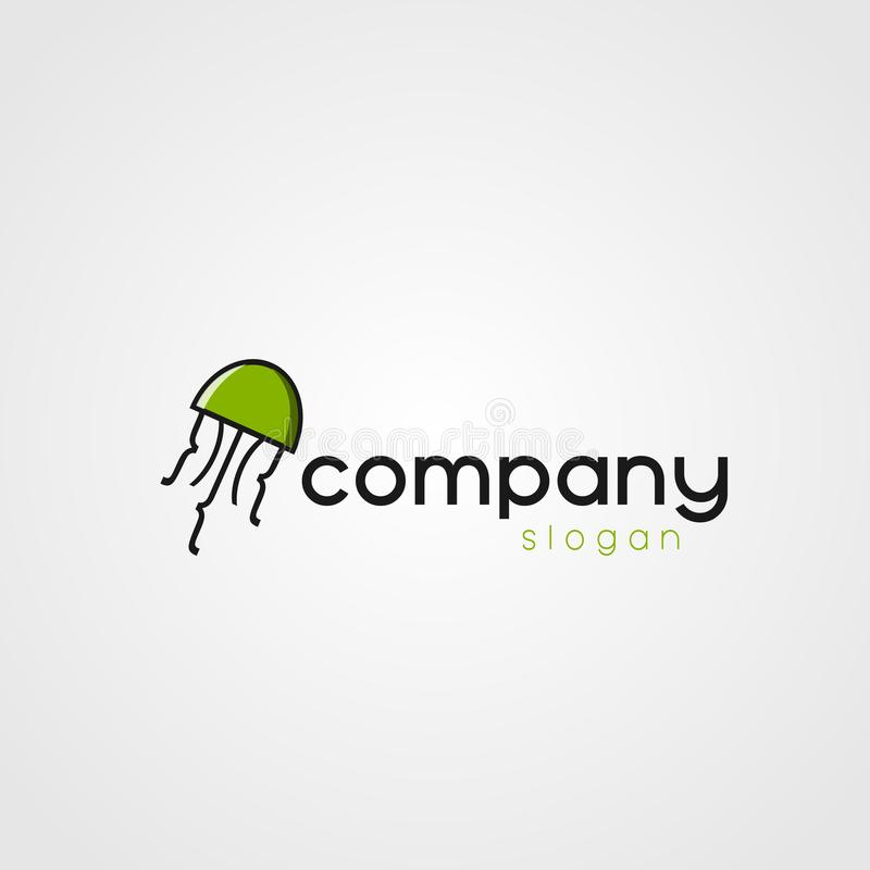 Jellyfish Business Company Logo. Jellyfish Company Logo Green for your company royalty free illustration