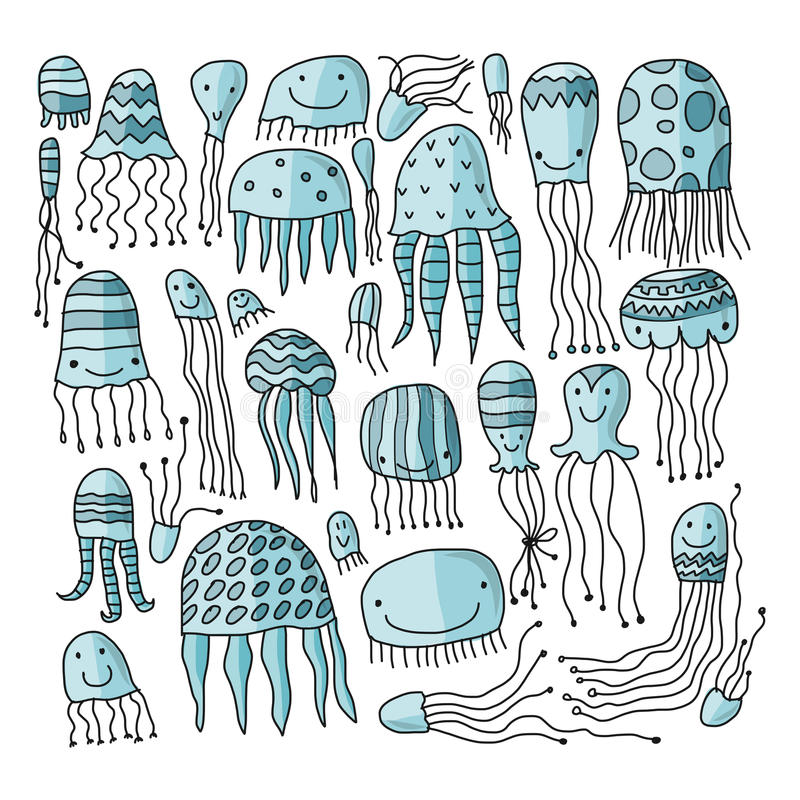 Jellyfish collection, sketch for your design vector illustration