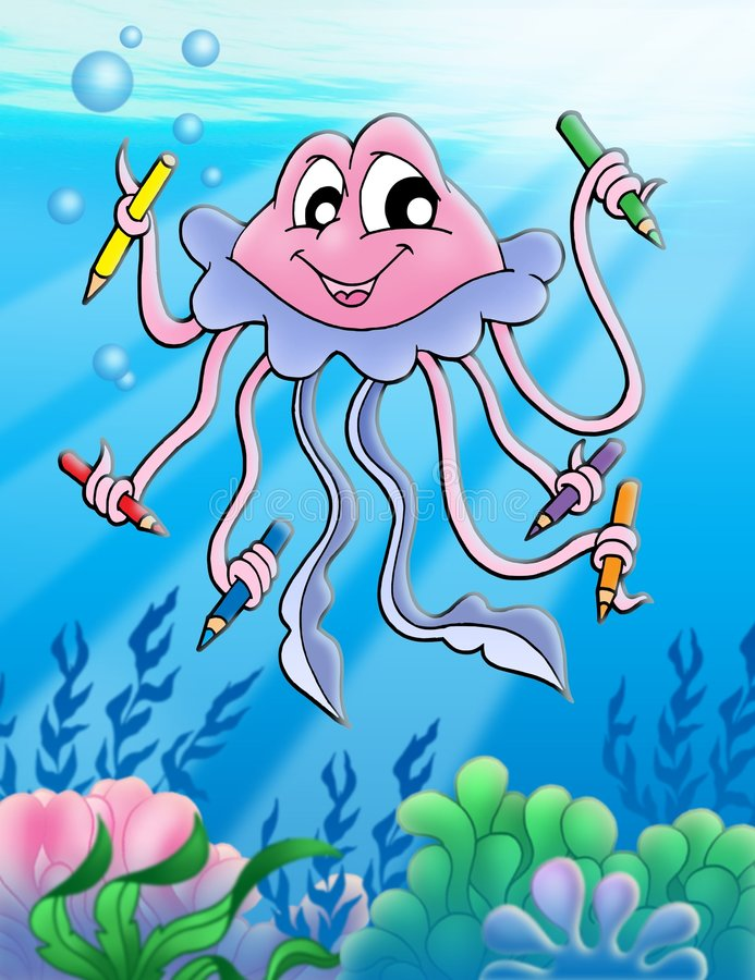 Jellyfish with crayons and bubbles stock image