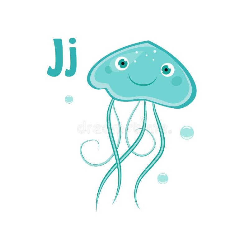 Jellyfish. Funny Alphabet, Animal Vector Illustration. Jellyfish. Funny Alphabet, Colourful Animal Vector Illustration royalty free illustration